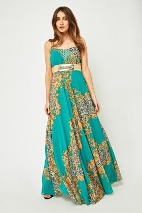 metallic baroque printed maxi dress just £5
