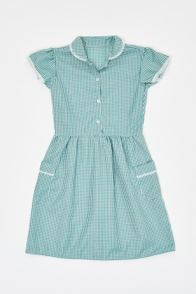 Lace Insert Girls Gingham Tunic Dress