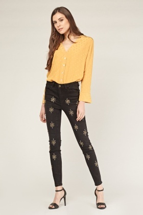 Encrusted And Embroidered Skinny Jeans