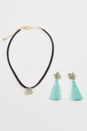 Choker Necklace And Tassel Earrings Set