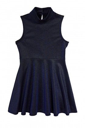 High Neck Sleeveless Lurex Dress