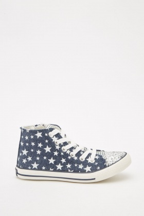 Contrasted Star Printed High Top Trainers