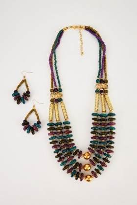 Tribal Beaded Necklace And Earrings Set
