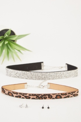 Encrusted Leopard Printed Chokers And Earrings Set