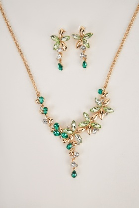Gemstone Statement Necklace And Earrings Set