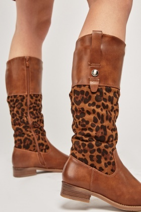 Animal Print Contrasted High Boots