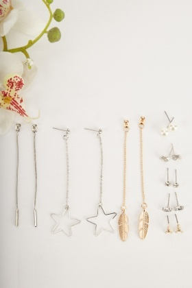 Contrasted Dangly Earrings And Studs Set