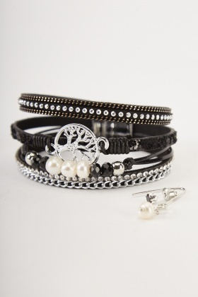 Mixed Wrist Bracelet And Earrings Set
