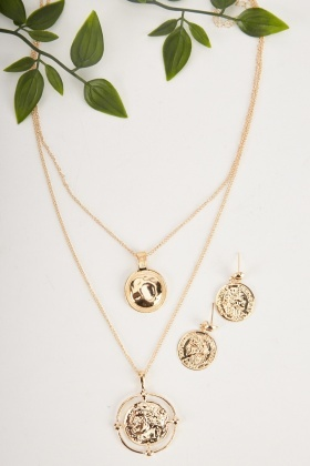 Roman Coin Necklace And Earrings Set