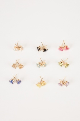 12 Pairs Of Multi Gem Stud Earrings
