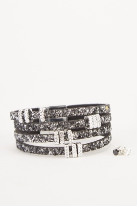 Encrusted Bangle And Stud Earrings Set
