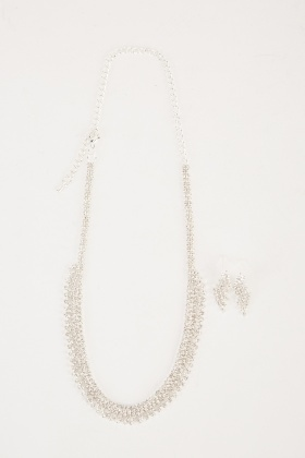 Diamante Encrusted Earrings And Necklace Set
