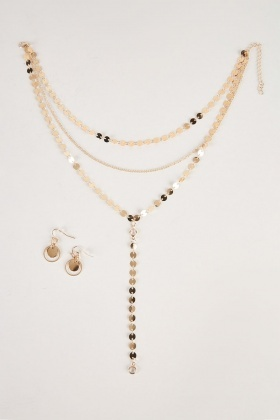 Multi-Strand Chain Necklace And Earrings Set