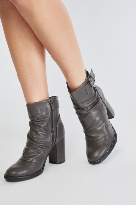 Ruched Faux Leather Ankle Boots