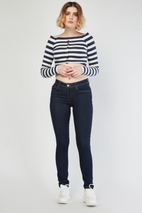 Low Waist Navy Jeans