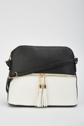 Two-Tone Contrast Zipper Tassel Bag £5.00