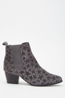 Faux Fur Star Pattern Ankle Boots £5.00