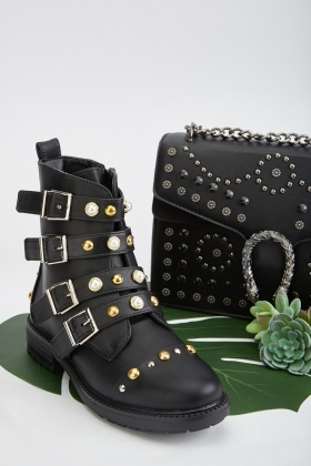 Multiple Buckled Encrusted Ankle Boots £5.00