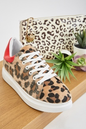 Textured Leopard Patterned Trainers £5.00