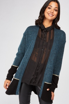 Two-Tone Contrast Knit Cardigan £5.00