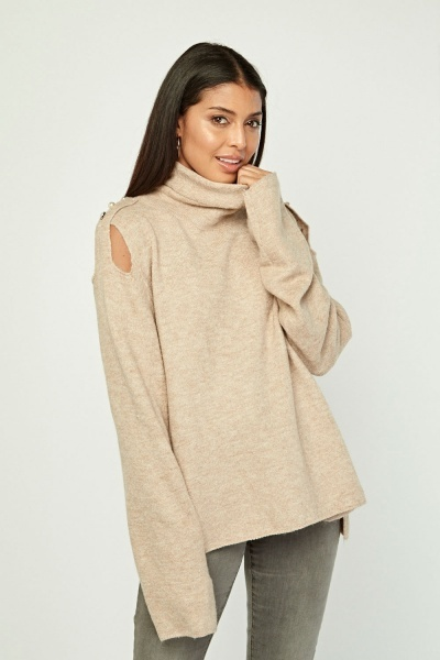 Mixed Button Trim Knit Jumper
