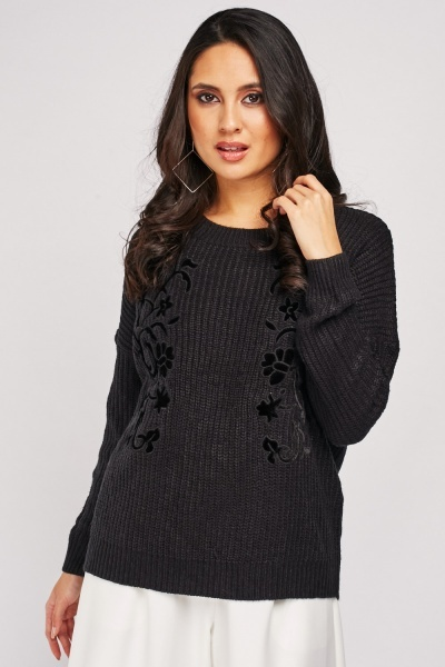 Flower Applique Embroidered Jumper