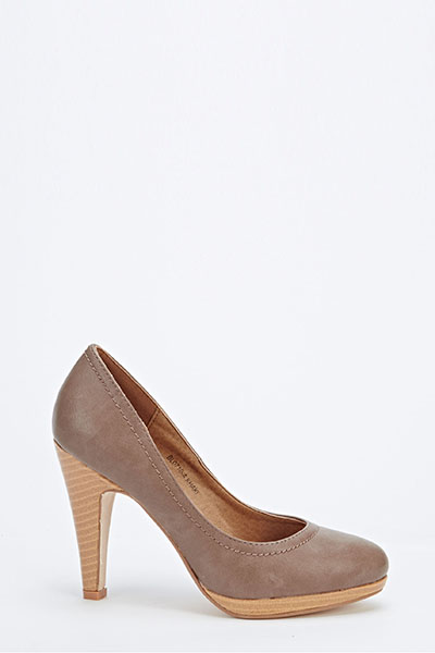 Chunky Mid Heel Court Shoes - Just £5