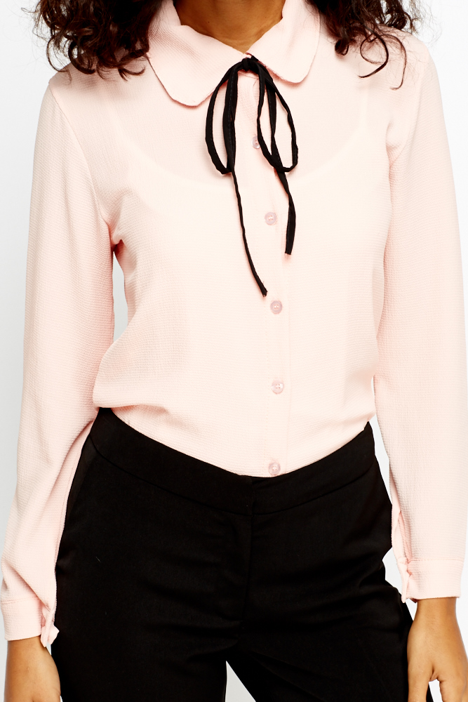 Button Up Tie Up Blouse Just 163 5