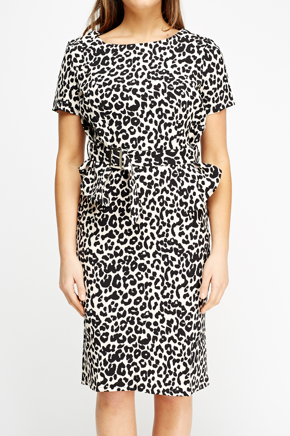 Leopard Print Peplum Dress Light Pink Black Or Off White