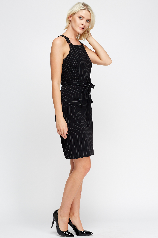 Striped Pinafore Dress Black Just 163 5