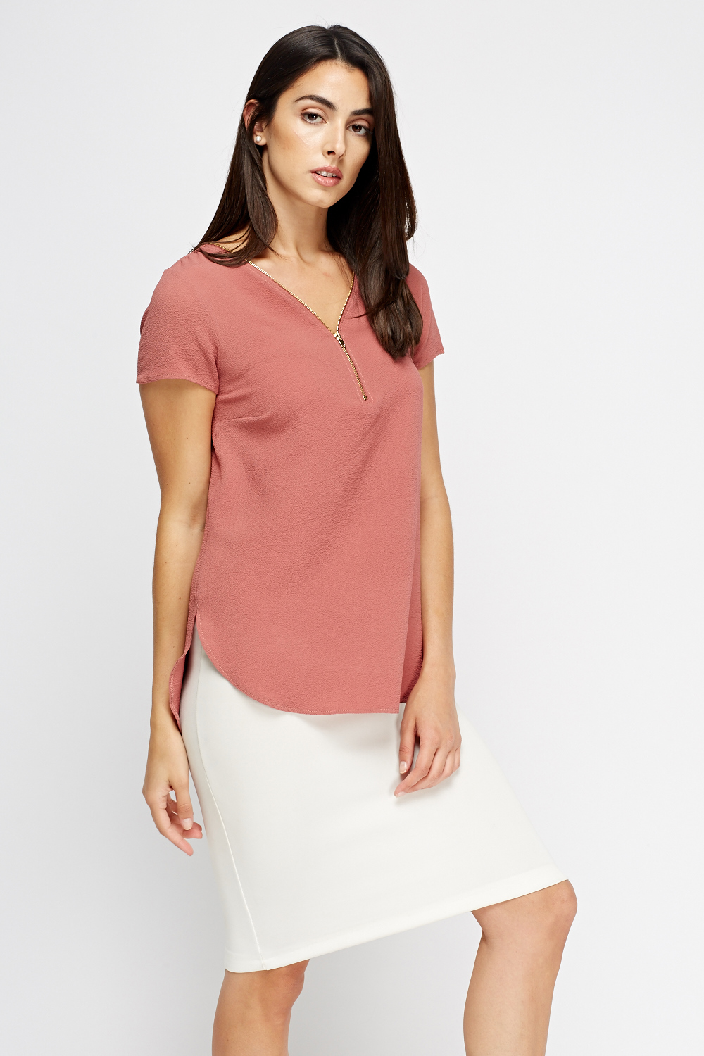 Zip Front Blouse Pink Just 163 5