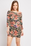Roll Neck Emblem Print Dress
