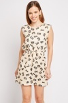 Number Print Drawstring Dress