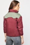3/4 Sleeves Colour Block Padded Jacket