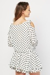 Cut Out Shoulder Polka Dot Mini Dress
