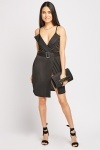 Belted Lapel Front Wrap Dress