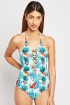 Tropical Palm Print Swimsuit