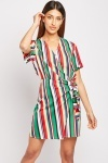 Short Sleeve Stripe Wrap Dress