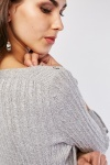 3/4 Sleeve Length Cable Knit Jumper