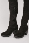 Suedette Knee High Chunky Boots