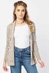 Speckled Open Front Knit Cardigan