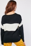 Monochrome Printed Front Knit Jumper