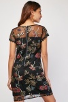 Flower Embroidered Tulle Overlay Dress