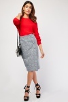 Houndstooth Print Midi Pencil Skirt