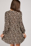 Button Front Animal Print A-Line Dress