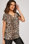 Leopard Print Chain Neck Top