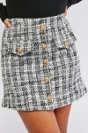 Woven Button Detail Skirt