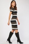Ribbed Colour Block Bodycon Dress