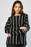 Striped Batwing Sleeve Knit Top