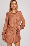 Bishop Sleeve Ruched Cord Dress